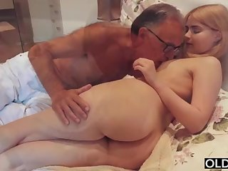 legal yo lady smooching and pokes her step daddy alongside his bedroom