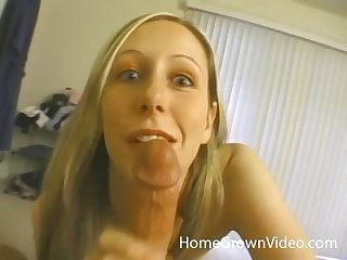 Blue eyed peaches MILF gives a hardcore blowjob to her husband