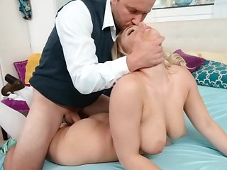 Busty blonde has never personal to her affectation daddy so horny