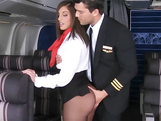 In check seduced stewardess to fuck in airplane