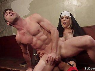 Tranny nun atonal ass fuck male prisoner