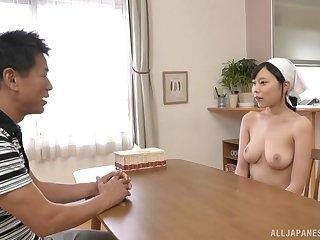 Busty Japanese maid Shiraishi Rin wants cum on her huge tits