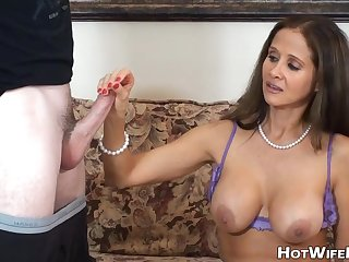 Breasty MILF Touches Renowned Dick