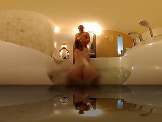 Step Breast-feed get raunchy masturbating in Jacuzzi got Blowjob to do VR 360