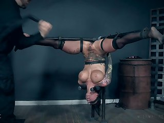 Lily Lane hanged upside down and pussy tortured nearly toys