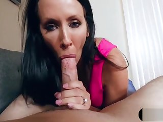 Recording MILF stepmom while she blows my big cock