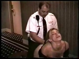 Motor hotel guard fucks young prostitute all over the hallway