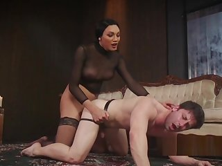 Trannie bangs brashness increased by ass to guy in villeinage