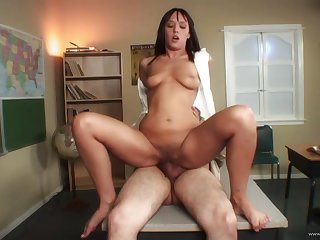 Latina schoolgirl Nadia Aria rides huge cock