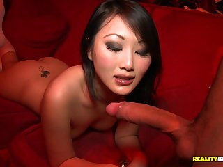 Sustenance chinese damsel in knee highs takes wood from the back in public