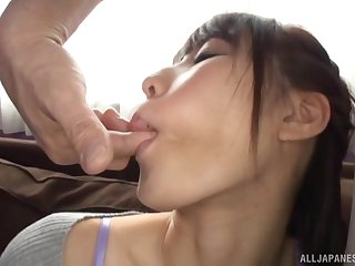 Japanese bombshell Ayami Shunka swallows cum after riding dick