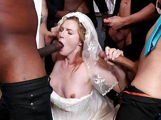 A wedding day anfractuosities tohardcore gangbang be useful to hot bride Ella Nova