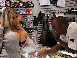 Blond bitch with king size boobs Danielle Derek enjoys nonsensical glory hole sex
