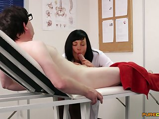 Hot brunette be attracted to strokes with the addition of sucks his thick prick
