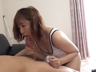 Beloved Japanese girlfriend with firm nuisance gives a sloppy blowjob