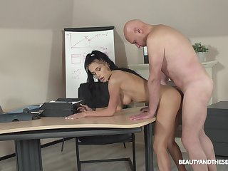 Crazy sex readily obtainable the office with the older boss