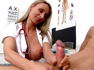 Steamy nurse is wearing stunning unvarying while toying with her patient's rock stiff meat stick