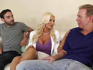 Giant racked blonde MILF Brittany Andrews works on twosome fat goof-up cocks