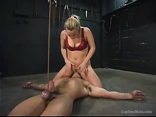 Submissive constrained up companion is brutally fucked away from Harmony not at all strapon