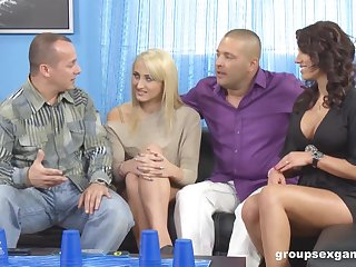 Coral Leyra and her husband attract one married truss be expeditious for crazy swinger copulation