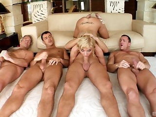Blonde doll shares her gang bang tryout on cam