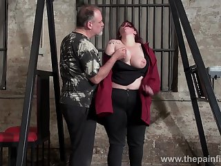 Obese red haired unreserved Emma gets punished with reference to the BDSM room