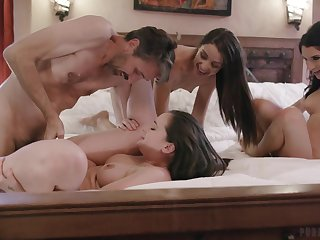 Lively hotties Gia Paige, Avi Love increased by Silvia Saige share a stud