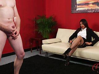 Amateur video of stunning Tulisa James watching a supplicant masturbate