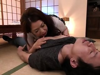 Horny asian mature milf giving blowjob with the addition of russian